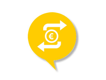 "Icon for topic ""Salary"" (with a euro sign and two arrows pointing in opposite directions)"
