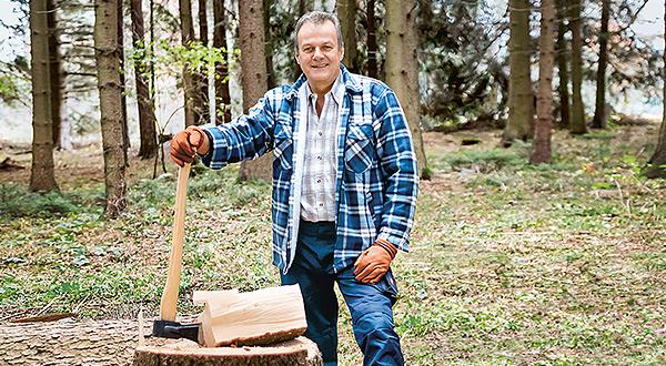 Heart Attack Patient Remigius Müller chopping wood.